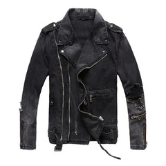 Black Multi Zippers Denim Jacket