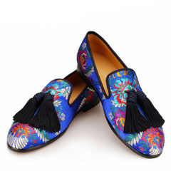 Jacquard Silk Tassels Moccasins Leather Loafers