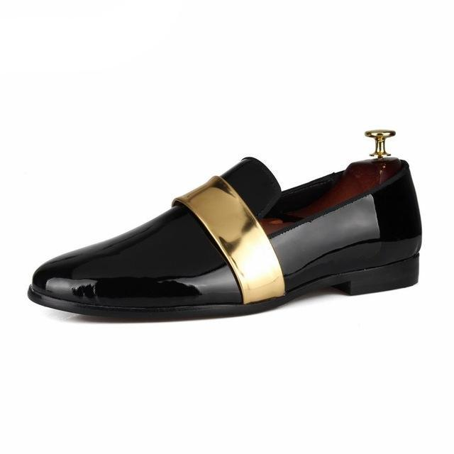 Black Patent Gold belt leather Loafer