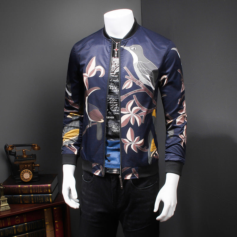 Birds printed slim flowers jacket