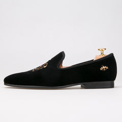 gold embroidery  velvet Loafer