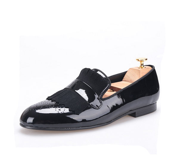 Black Patent Leather Suede Fringe loafer
