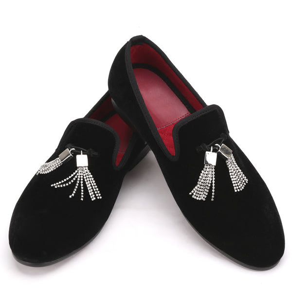 Velvet Crystal Tassel Loafer