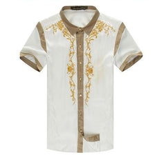 Embroidered Gold Palace short-sleeved silk shirt