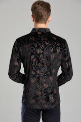 Flower Velour Vintage Long Sleeve Shirt