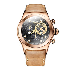 Chronograph Rose Gold Leather Strap Skeleton Watch
