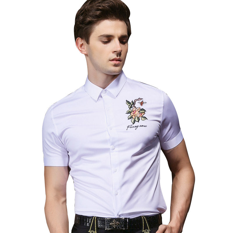 Flower Embroidered White shirt