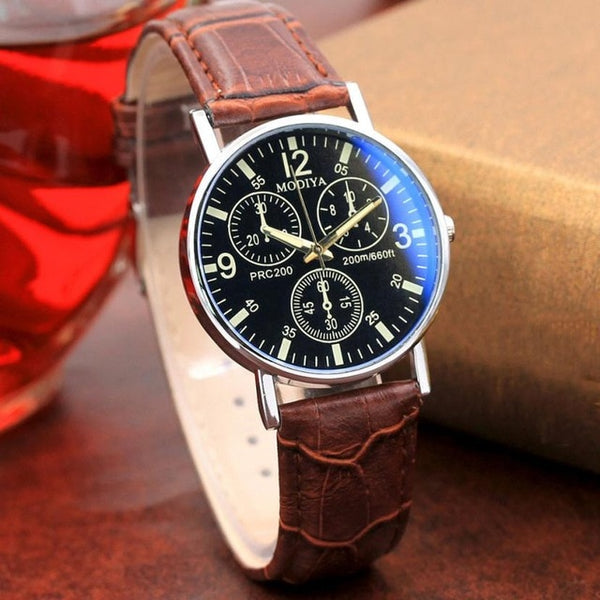 Leather Classic Wrist  Blue Glass Quartz Wristwatch