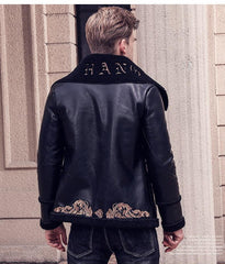 Embroidery leather pattern jacket