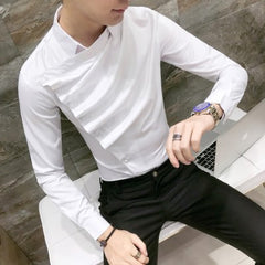 Front Fold Tuxedo Slim Fit Long Sleeve Shirt