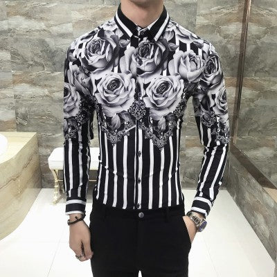 Flower Print Long Sleeve Slim Fit Striped Shirts