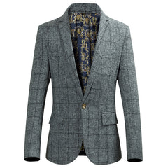 Famous brand casual plaid blazer