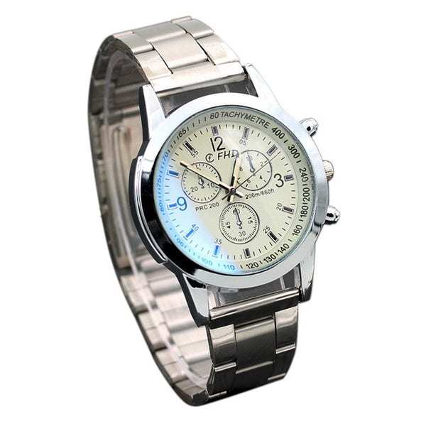 Stainless Steel  Date Analog Quartz Sport Wristwatch