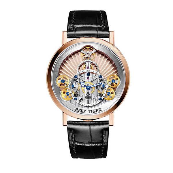 Luxury Gear Quartz Rose  Gold Skeleton Leather Strap Watch
