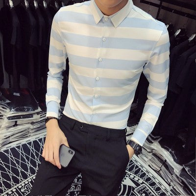 Wide Stripe Slim Fit Long Sleeve Shirt