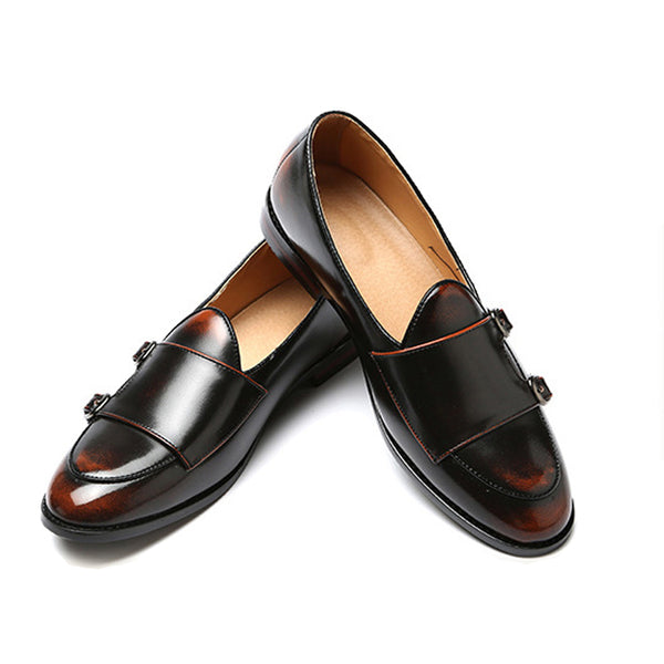 Vintage Leather Monk Straps Loafer