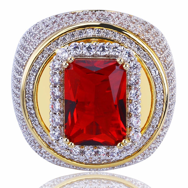 Gold  Red Natural Stone  Ring