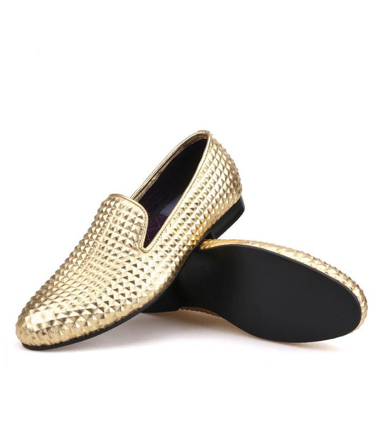 Handmade Pyramid leather Gold Loafers