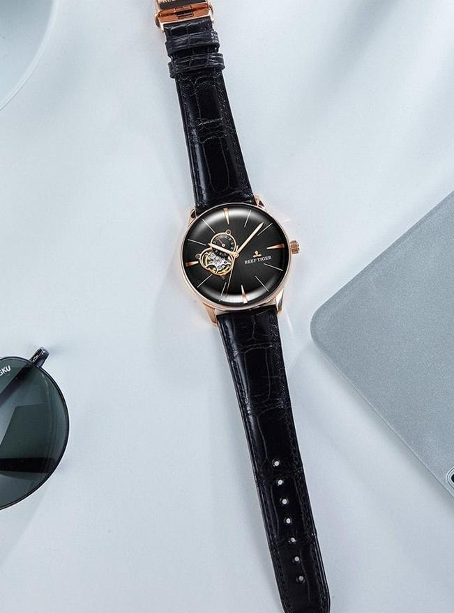 Convex Lens Rose Gold Dial Automatic Watch