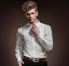 White Gold Plaid Embroidery Long Sleeve Slim  Shirt