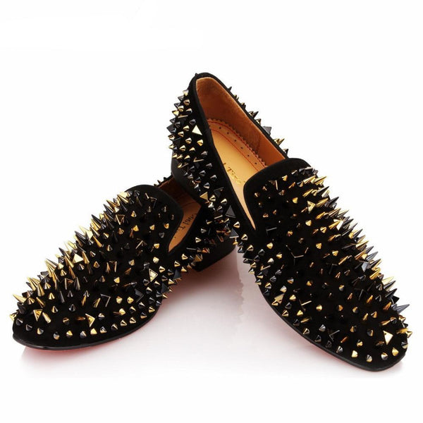 Mix Gold/Black Spikes Suede Loafer