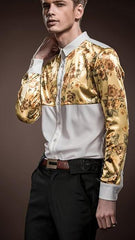 Gold Floral Palace Stitching Slim Long Sleeved Shir