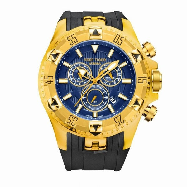 Chronograph Date Yellow Gold Rubber Strap Quartz Watches
