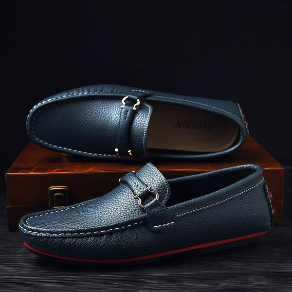 Leather Flat Moccasin Loafers