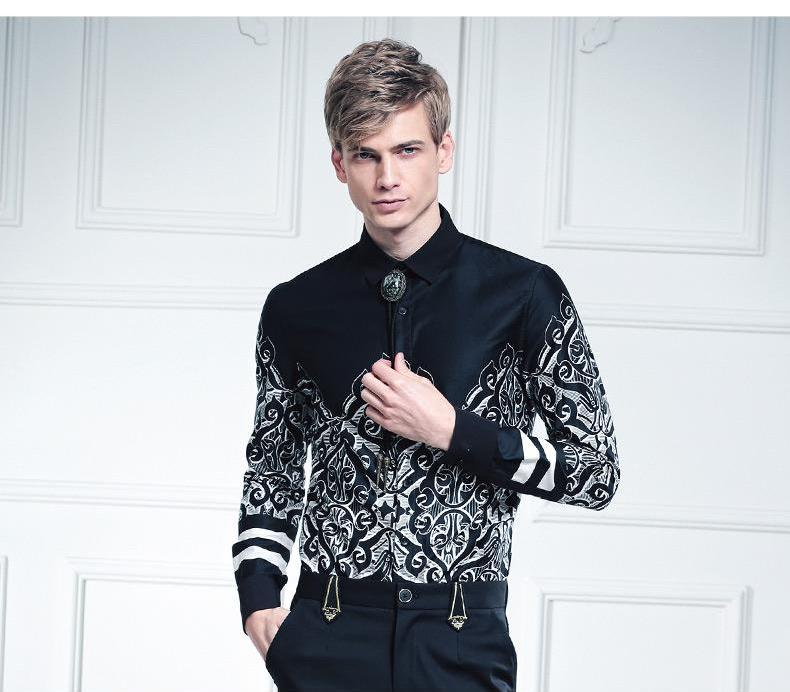 Baroque Print Long Sleeve Personality shirt