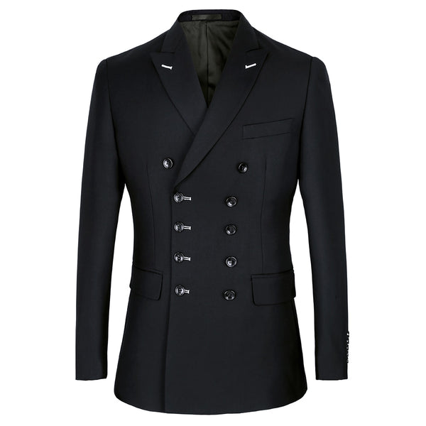 Black Double Breasted Slim Fit Suit Blazer