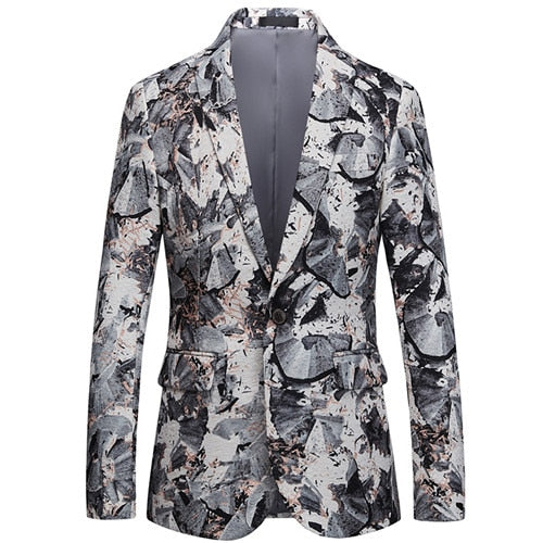 Floral Pattern Notched One-Button Blazer