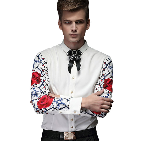 Wave printed personality spring long sleeved shirts