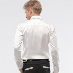 Stitching Long Sleeve Slim White Pleated Shirt