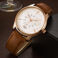 Gold Leather Resistant Watch