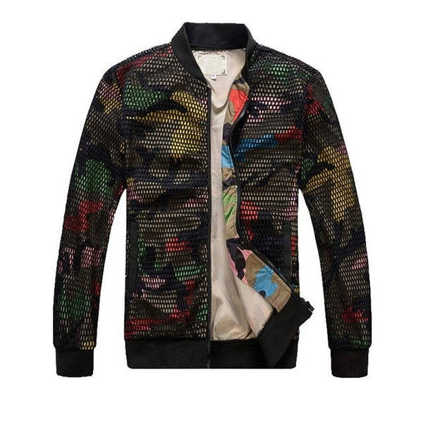 Camouflage Hollow Out Baseball Jacket