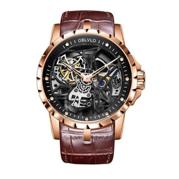 Skeleton Leather Strap Rose Gold Automatic Watch