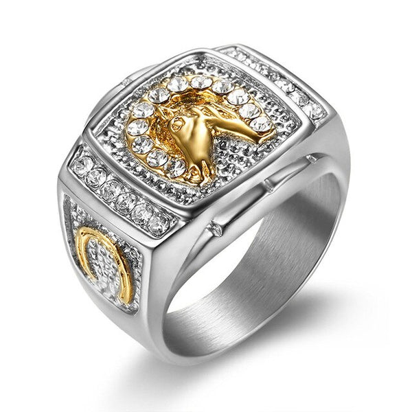 Rhinestone Iced Out Horse Gold Silver Ring
