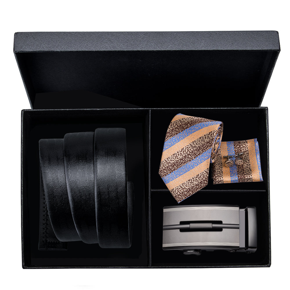 Black Leather Belts with Luxury Silk Ties