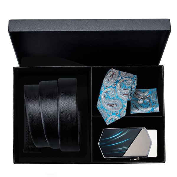 Black Leather Automatic Buckle Belt Silk Blue Neck Tie Set