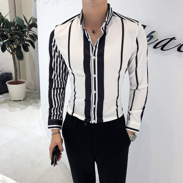 Long Sleeve Slim Fit Striped Shirts