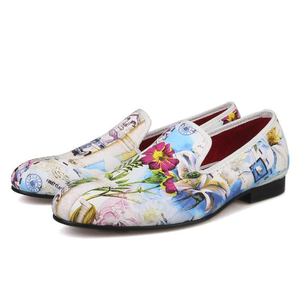 Flower pattern printing white colors loafers