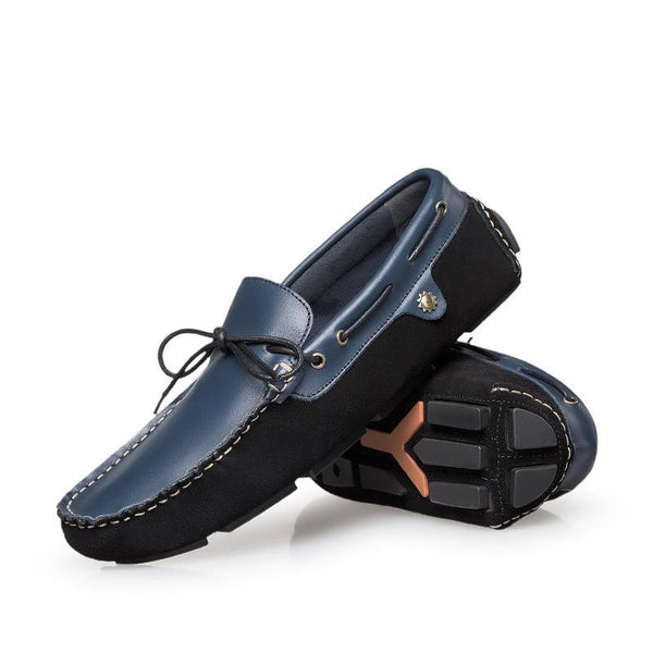 Leather Lace Up Flat Moccasin Loafers