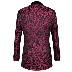 Red Wine Singer button Slim Fit Blazer