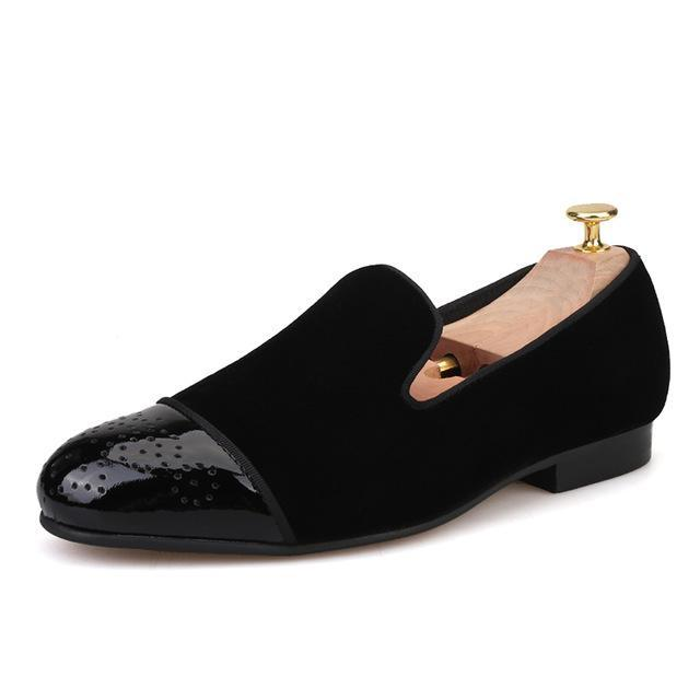 Patent leather toe with Bullock Handmade velvet loafers