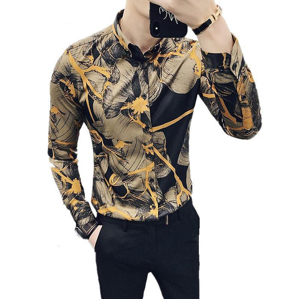 Floral Long Sleeve Slim Fit Shirt