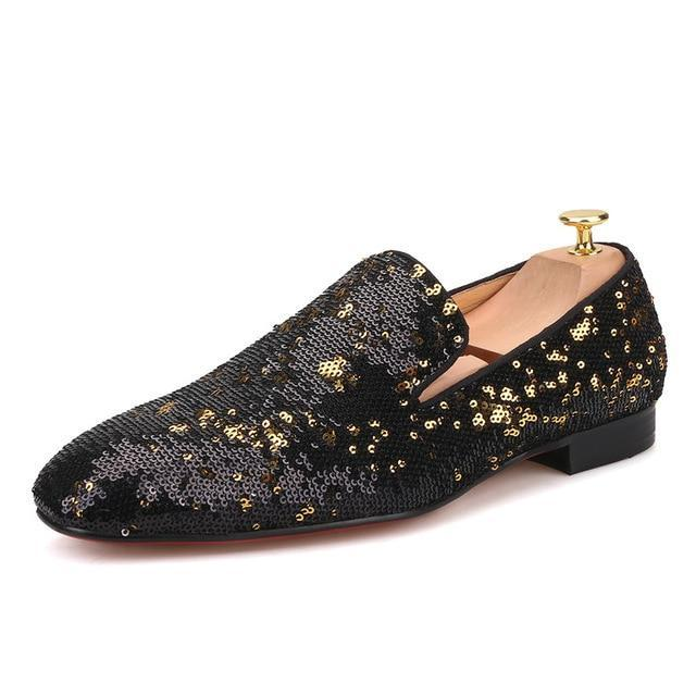 Black gold luxurious sequins loafers