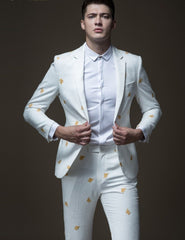 Gold Embroidered Cultivate Morality Suit Blazer