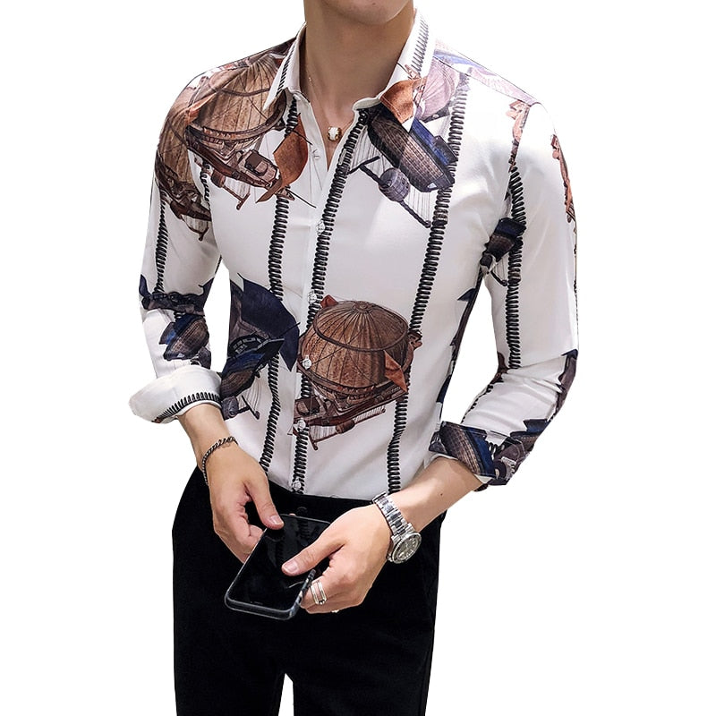 Trendy Print Slim Fit Long Sleeve Shirt