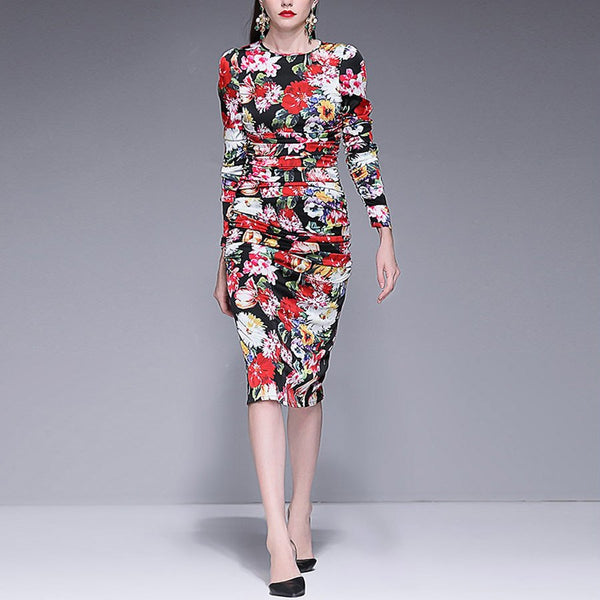 Bodycon Vintage Elegant Long Sleeve Floral Print Sheath Dress