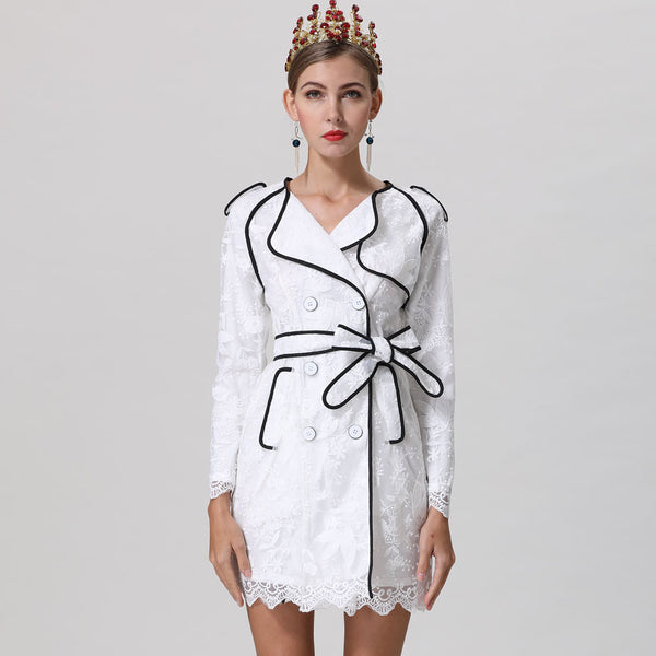 Elegant Flower Embroidery Wrist Sleeve Double Breasted White Dress
